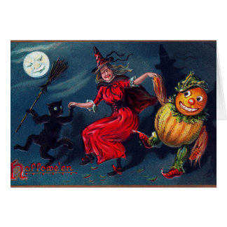Vintage Halloween witch add message card