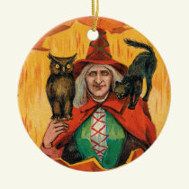 Vintage Halloween witch add spell message ornament
