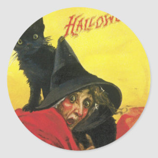 Vintage Halloween Witch and Cat Classic Round Sticker