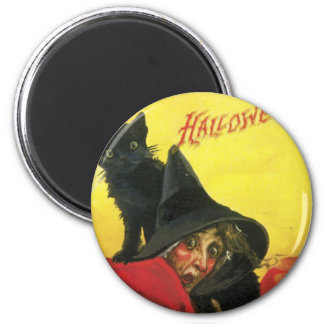 Vintage Halloween Witch and Cat Fridge Magnet