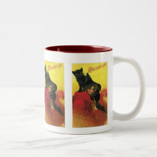 Vintage Halloween Witch and Cat Coffee Mugs