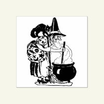 Vintage Halloween Witch and Cat Stamp