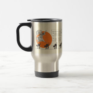 Vintage Halloween Witch and Cats Travel Mug