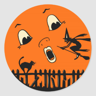 Vintage Halloween Witch and Moon Classic Round Sticker