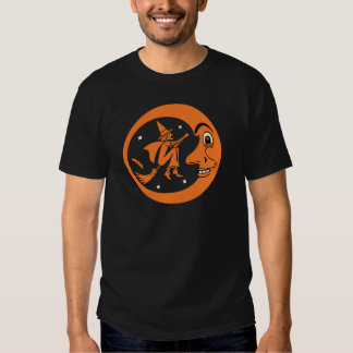 Vintage Halloween Witch and Moon Design Tshirts