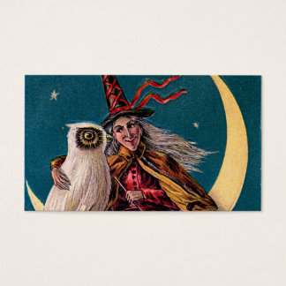 Vintage Halloween Witch and Owl Business Card