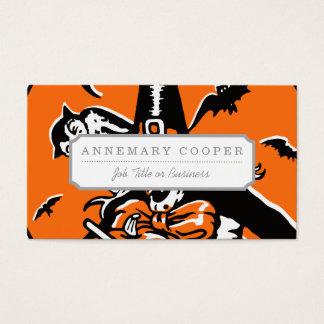 Vintage Halloween Witch and Owl Illustration Business Card