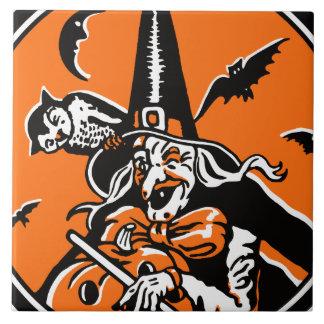 Vintage Halloween Witch and Owl Illustration Ceramic Tile