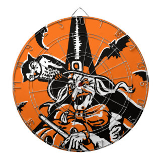 Vintage Halloween Witch and Owl Illustration Dartboard With Darts