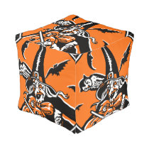 Vintage Halloween Witch and Owl Illustration Pouf