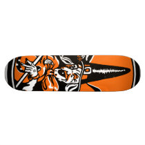 Vintage Halloween Witch and Owl Illustration Skateboard