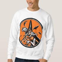 Vintage Halloween Witch and Owl Illustration Sweatshirt