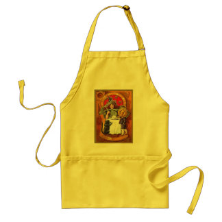 Vintage Halloween Witch and Pumpkin Head Boy Adult Apron