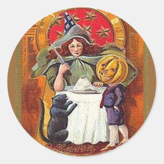 Vintage Halloween Witch and Pumpkin Head Boy Sticker