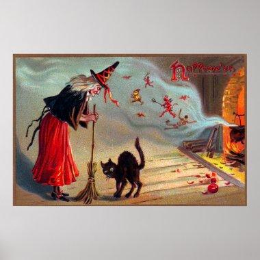 Vintage Halloween witch black cat decor poster
