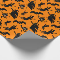 Vintage Halloween Witch Black Cat Jack O'Lantern Wrapping Paper
