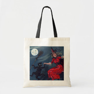 Vintage Halloween witch black cat party bag
