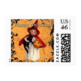 Vintage Halloween Witch Black Cat Postage