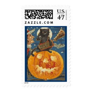 Vintage Halloween Witch Black Cat Postage Vector