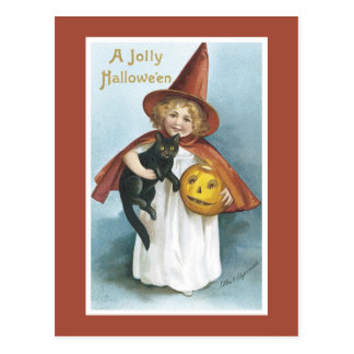 Vintage Halloween Witch Black Cat Postcard
