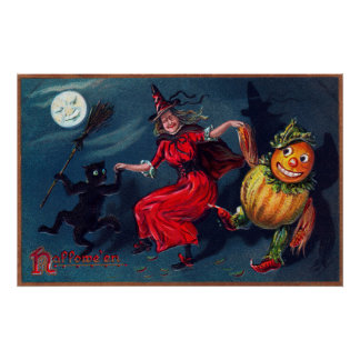 Vintage Halloween witch black cat pumpkin poster
