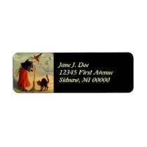 Vintage Halloween Witch Broom Cat Address Labels