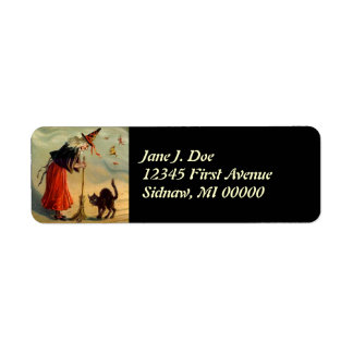 Vintage Halloween Witch Broom Cat Address Labels