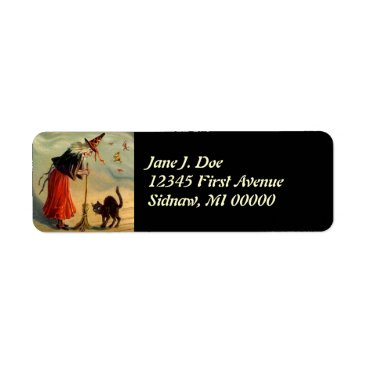 Halloween Themed Vintage Halloween Witch Broom Cat Address Labels