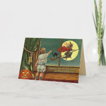Vintage Halloween Witch Card