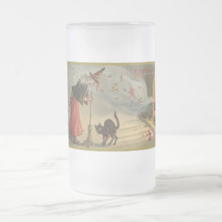 Vintage Halloween Witch, Cat Mug, Steins 16 Oz Frosted Glass Beer Mug