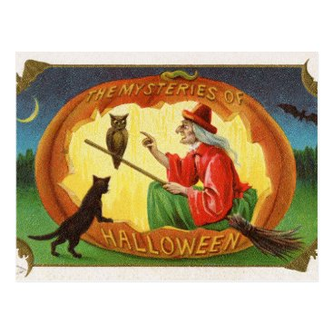 Halloween Themed Vintage Halloween witch cat owl postcard