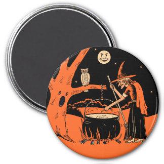 Vintage Halloween - Witch & Cauldron 3 Inch Round Magnet