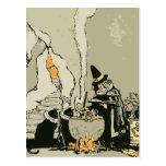 Vintage Halloween Witch, Cauldron Magic Black Cats Post Cards