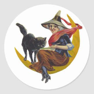 Vintage Halloween Witch Classic Round Sticker