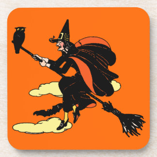 Vintage Halloween Witch Drink Coasters