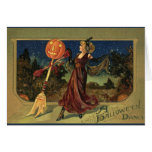 Vintage Halloween Witch Dancing with a Broom Greeting Cards