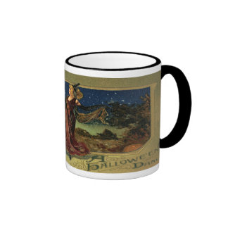 Vintage Halloween Witch Dancing with a Broom Mugs