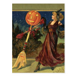 Vintage Halloween Witch Dancing with a Broom Post Cards