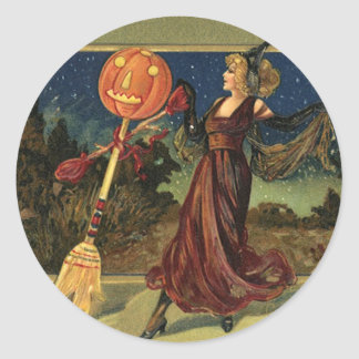 Vintage Halloween Witch Dancing with a Broom Round Sticker