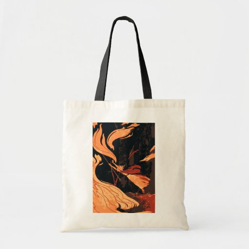 Vintage Halloween Witch, Fire and Flames in Forest Bags