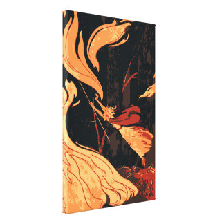 Vintage Halloween Witch Fire and Flames in Forest Canvas Print
