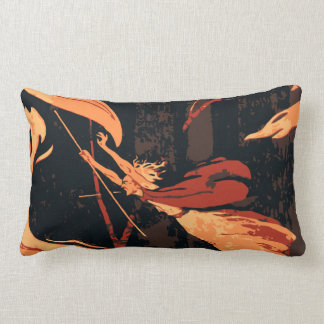Vintage Halloween Witch, Fire and Flames in Forest Pillow