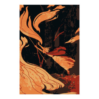 Vintage Halloween Witch Fire and Flames in Forest Poster