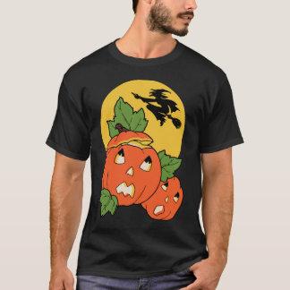 Vintage Halloween Witch Flies Over A Pumpkin Patch T-Shirt