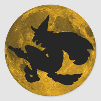 Vintage Halloween - Witch Flies Over the Full Moon Round Sticker