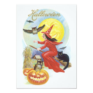 Vintage Halloween Witch Flying Cat Broomstick Moon Personalized Invitation