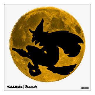 Vintage Halloween Witch Flying on her Broom Wall Sticker