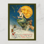 "Vintage Halloween Witch Flying on her Magic Broom Holiday Postcard<br><div class=""desc"">There she goes! Flying away on her Magic Broom. Old Fashion,  Victorian Halloween postcards! Customize your Halloween greetings! Halloween postcards are a cute way to say hello.</div>"