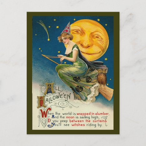 Vintage Halloween Witch Flying on her Magic Broom Holiday Postcard
