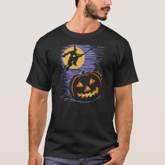 Vintage Halloween Witch Flying Over Jack O'Lantern T-Shirt
